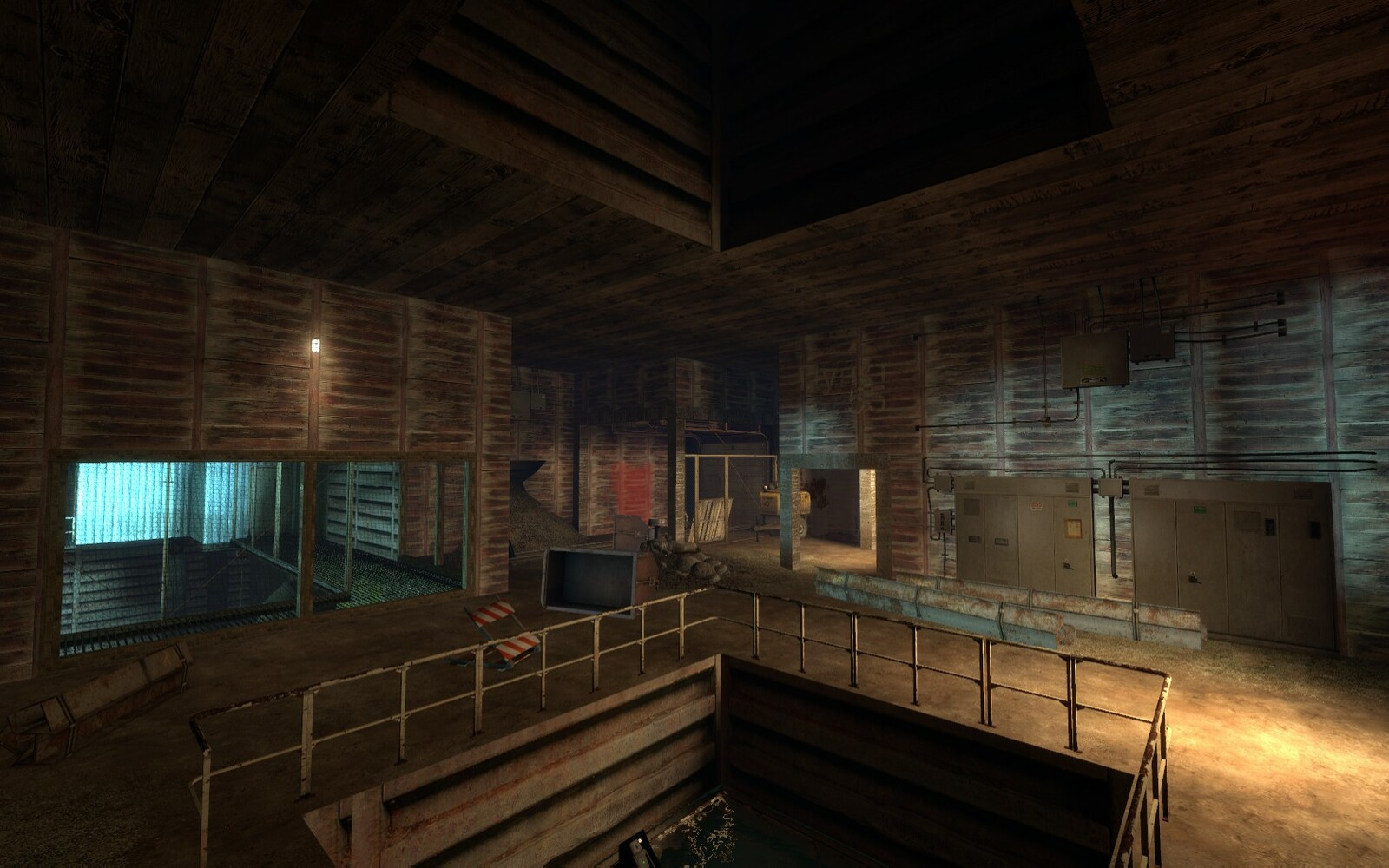 This is the bottom of the elevator. It is like a lobby where there is a lot to see. The view into the main chamber is a blue color to distinguish it from the current area.