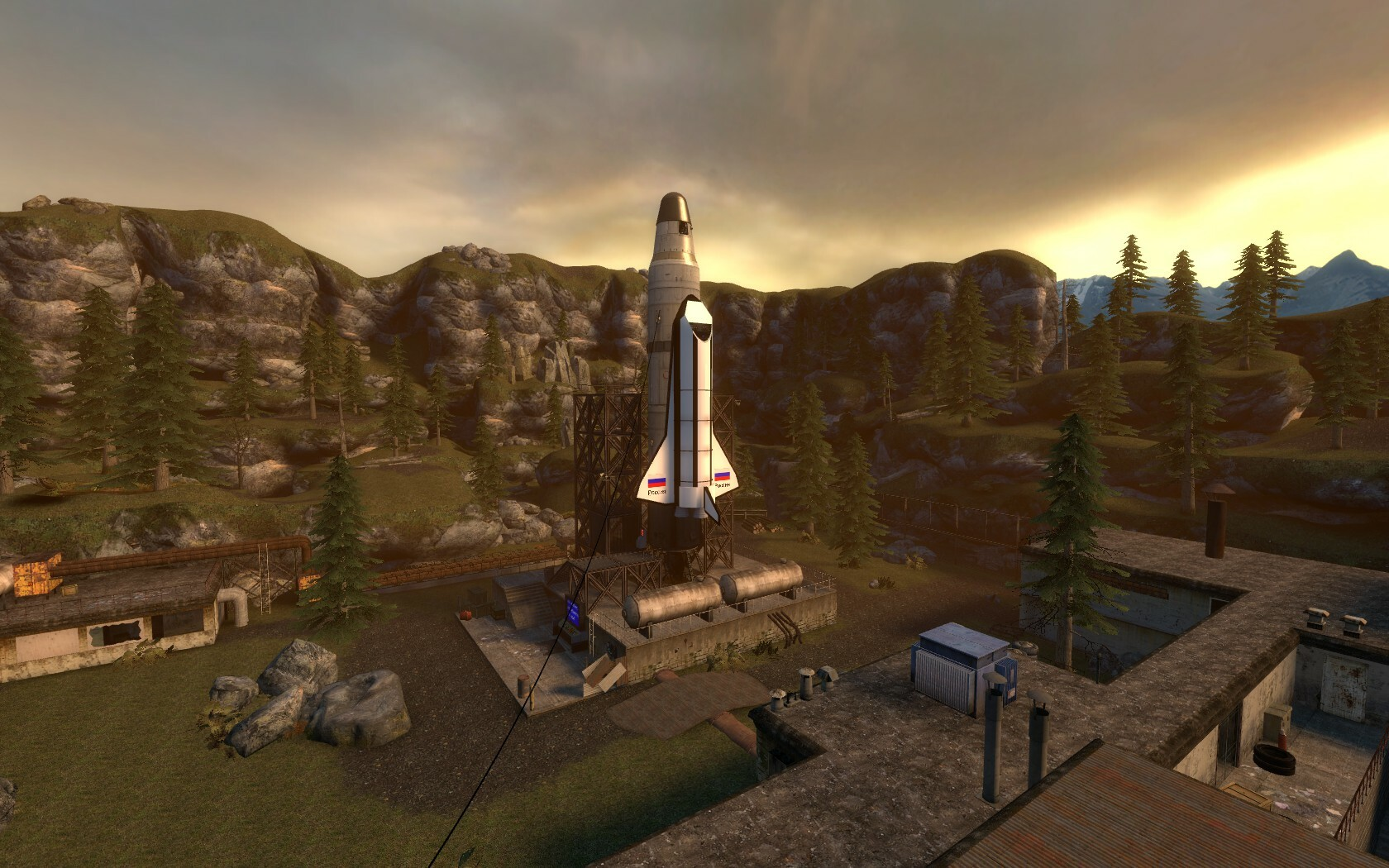 The final battle take place around a shuttle and rocket. The area needed to be open as the player would need to easily move around whilst fighting.