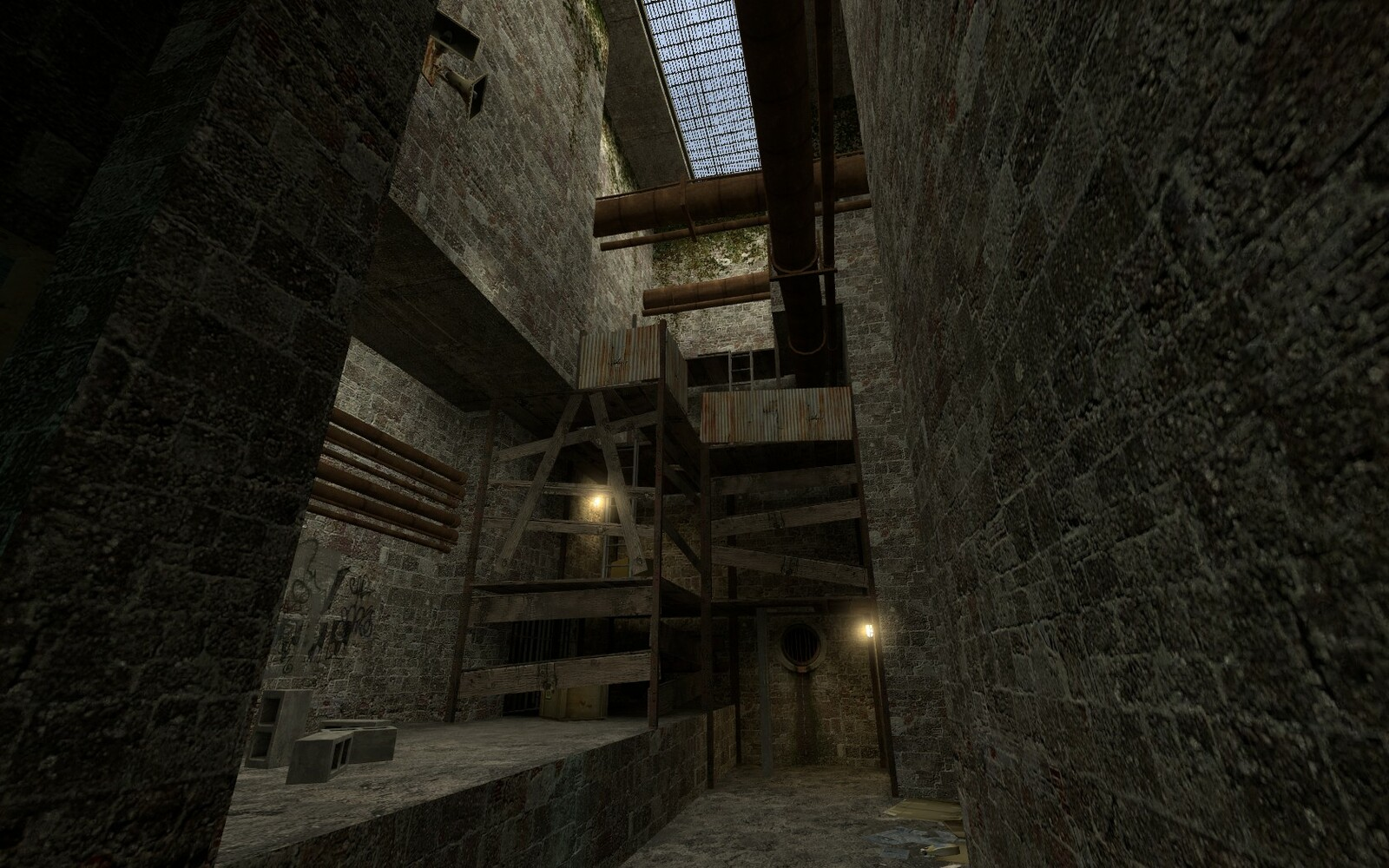 Even though the wooden structure is the main thing in the scene, the play may be unsure of how to scale it. Two lights have been placed to draw the players attention to the key areas of the structure.
