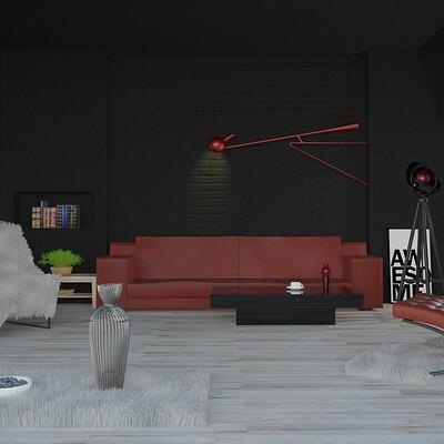 Florian sigl wohnzimmer rendering