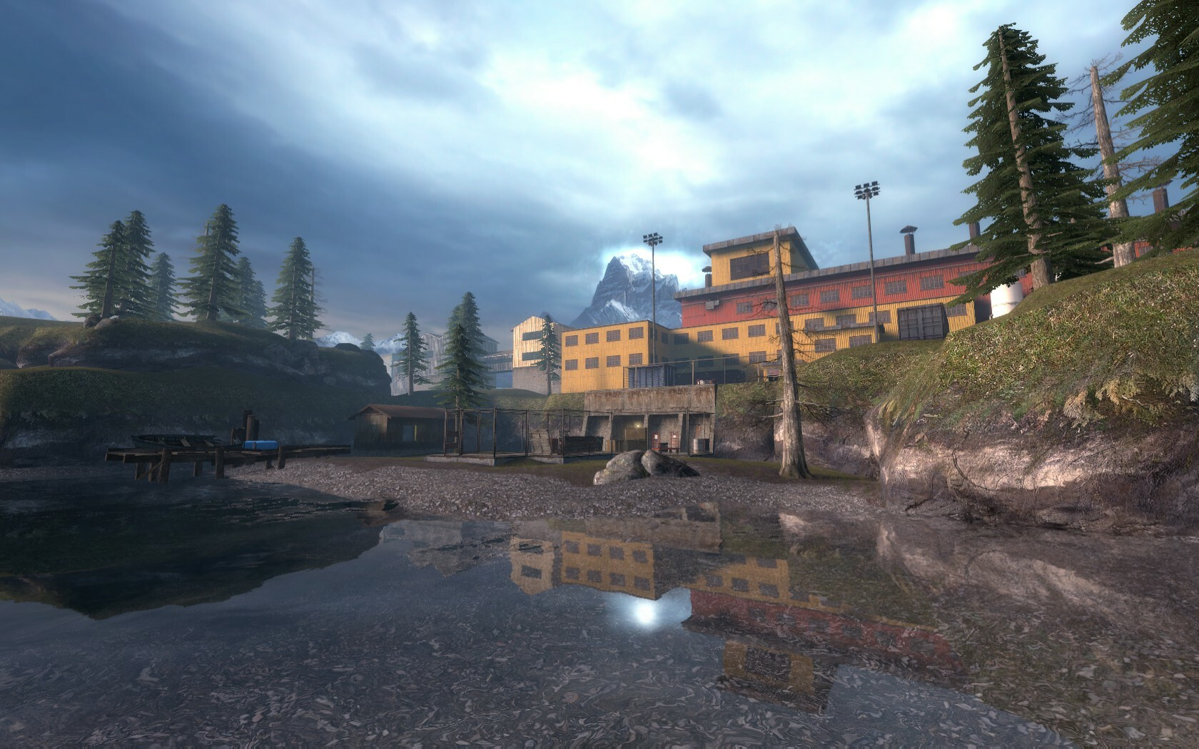 The point of the level where the player starts had to be distinctive. They can view the building in which they are entering and it is visually appealing.