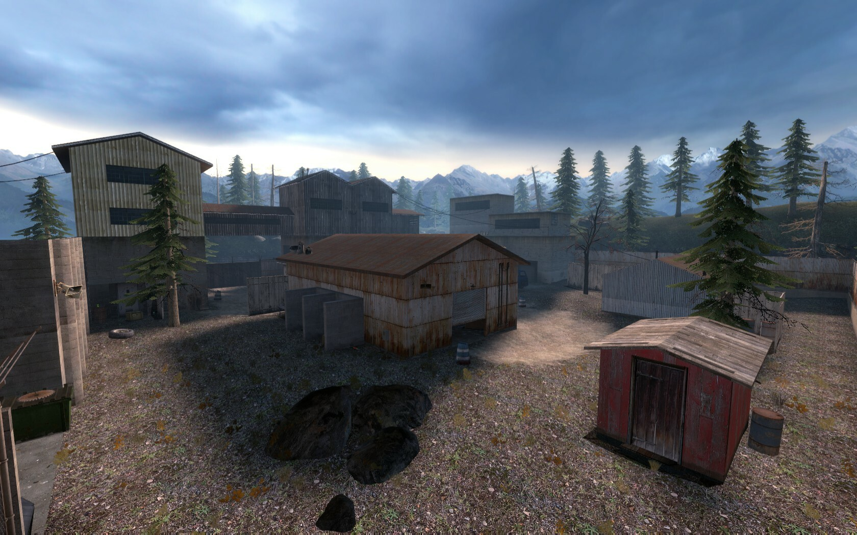 The final battle was an open area. There are a few buildings that the player can enter to take cover from the enemies. These are spread around to encourage the player to move from building to building.