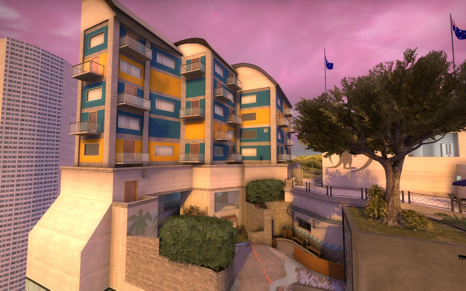 The pent house suit was designed as a focal point to tower above the rest of the map. It can be seen from any of the exterior sections and can help player navigation.