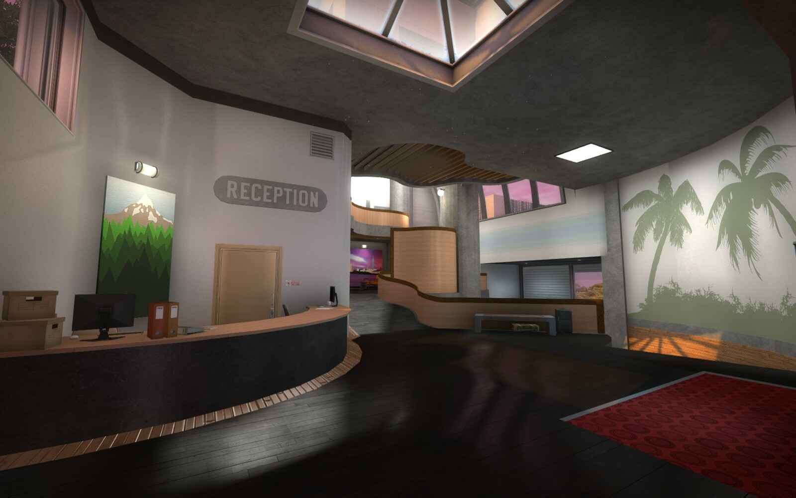 The lobby takes a very unconventional approach to direction. Both the passage to the left and the the stairs on the right are ahead of the player so no major turns need to be made when starting out.