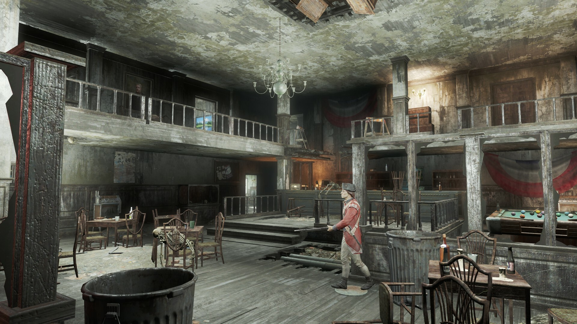 Damage has been added to each aspect of the pub to create a more interesting location that fits with the continuity of Fallout 4.