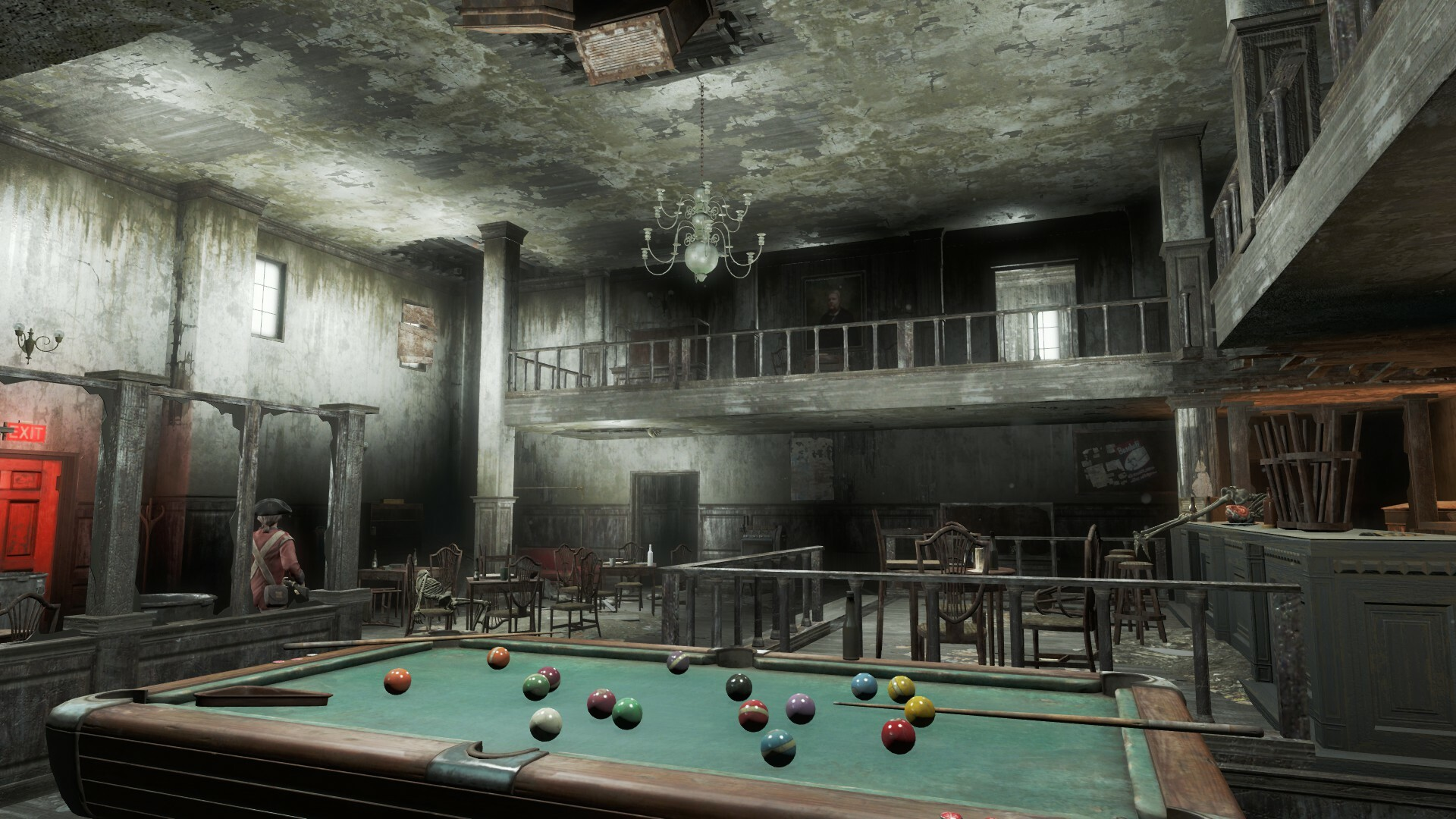 The pub makes use of verticality which helps make the level look visually interesting and also give the player more areas to explore.