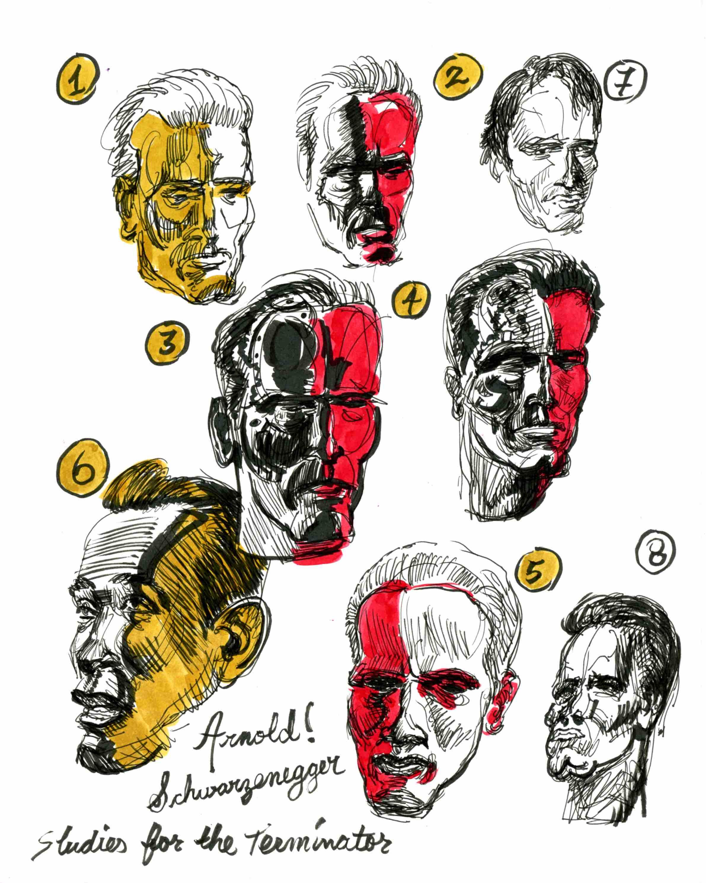 Head studies. I gave Arnold, that Frankenstein look.