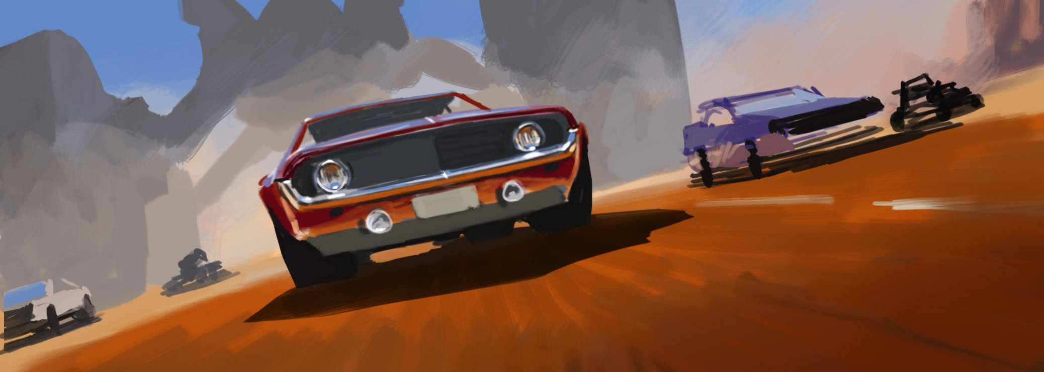 Initial color rough to establish mood and perspective. I ultimately decided the main car needed to fill more of the frame in fgd.