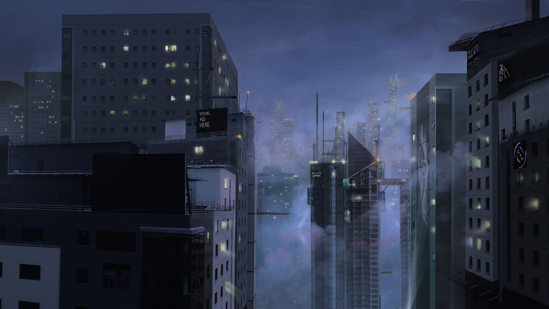 Just the night version of the painting - the billboards were placeholders here, since the director created animated billboards for the final comp.