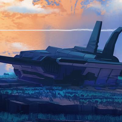 Travis lacey crashed ship maysketchaday 2019 scifi concept art web