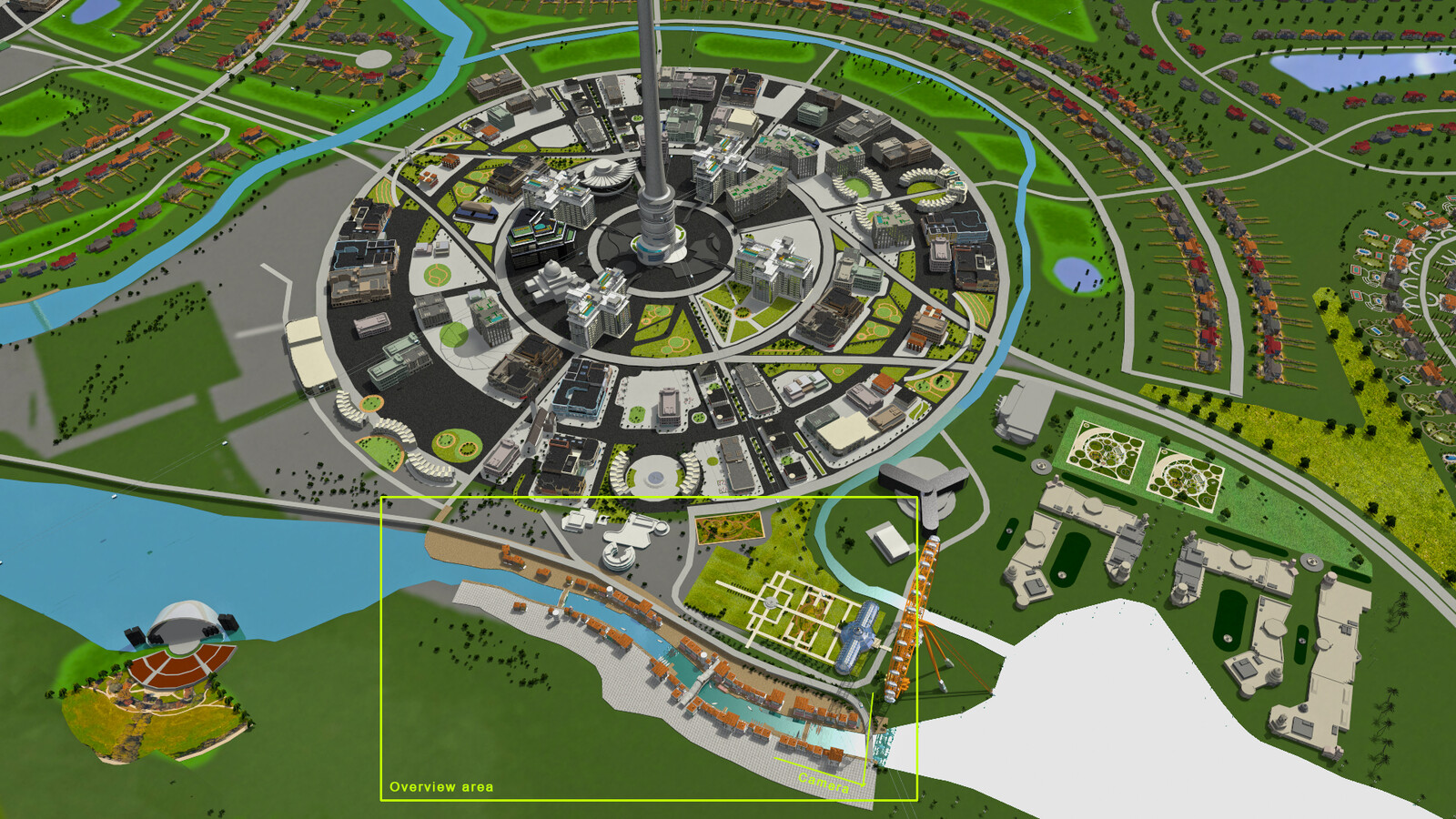 Staging and location of scene in the overall cityscape.  City design was developed by Thang Le, Ben Grangerau and Chris Voy.