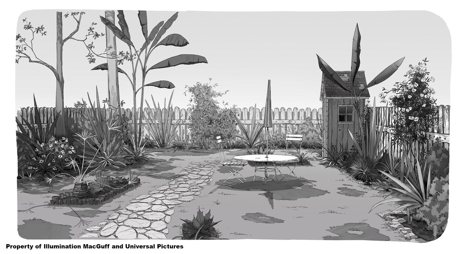 Mina's house back garden