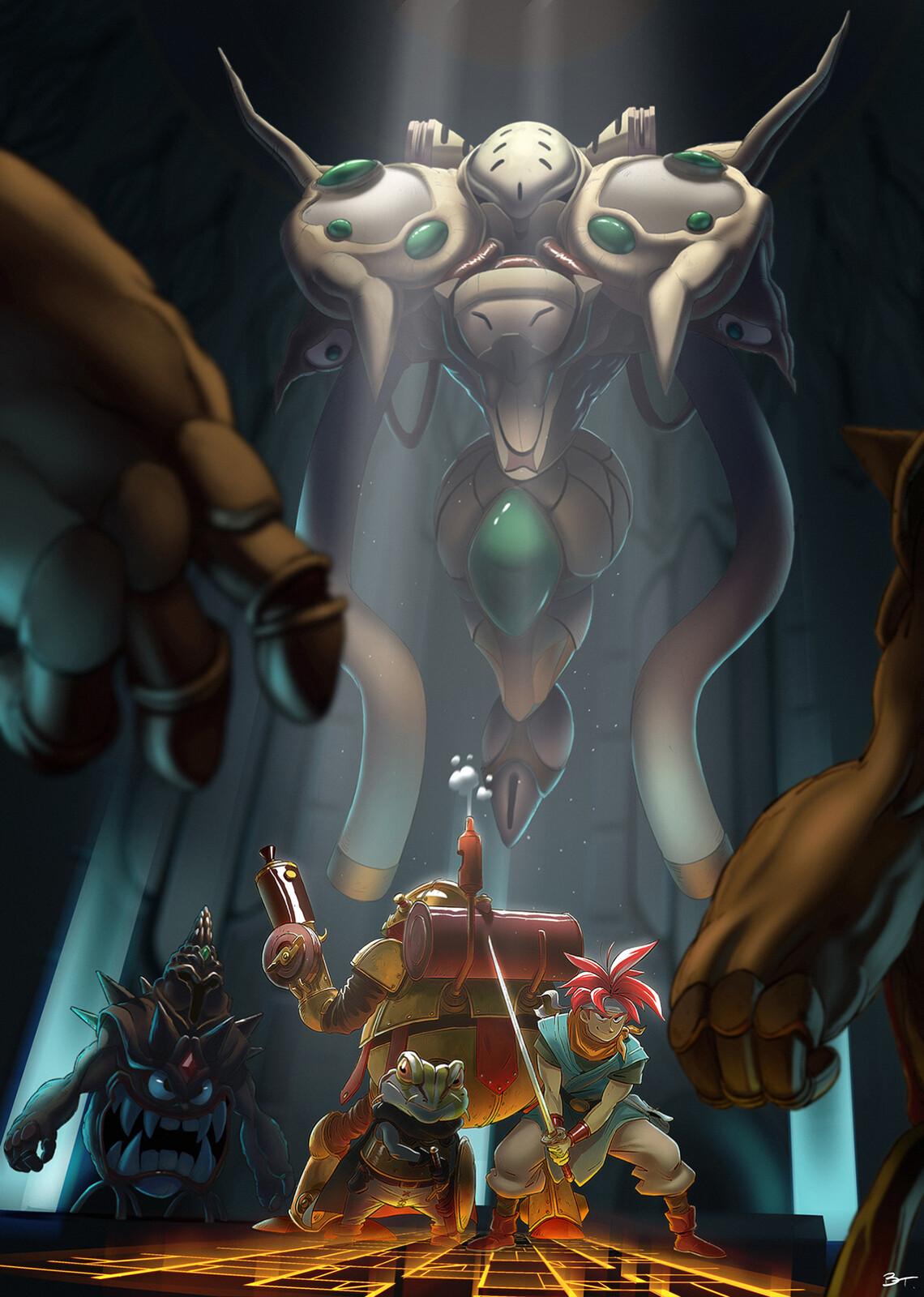 Chrono Trigger fan-art : fight against the Mammon Machine