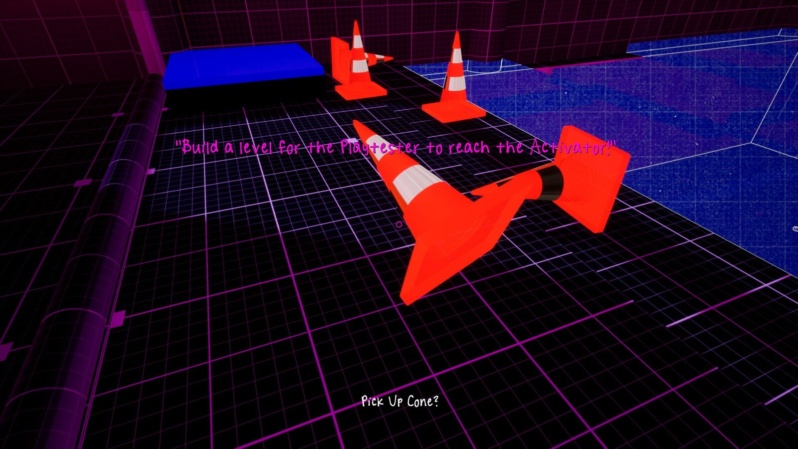 In the Playtesting area, the cones can be used to guide the AI to the write path by blocking the wrong path.
