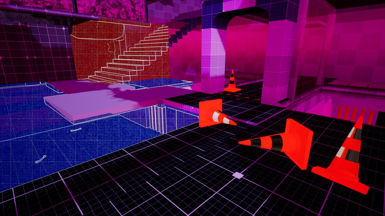 "The player has assembled a ""level"" for the AI to traverse up the stairs. This area is not very challenging and more of a comic relief for an otherwise ""punishing"" game."