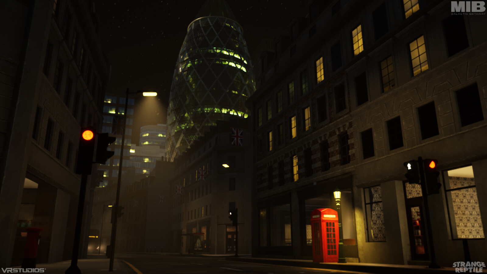 London entrance and its detail lighting below