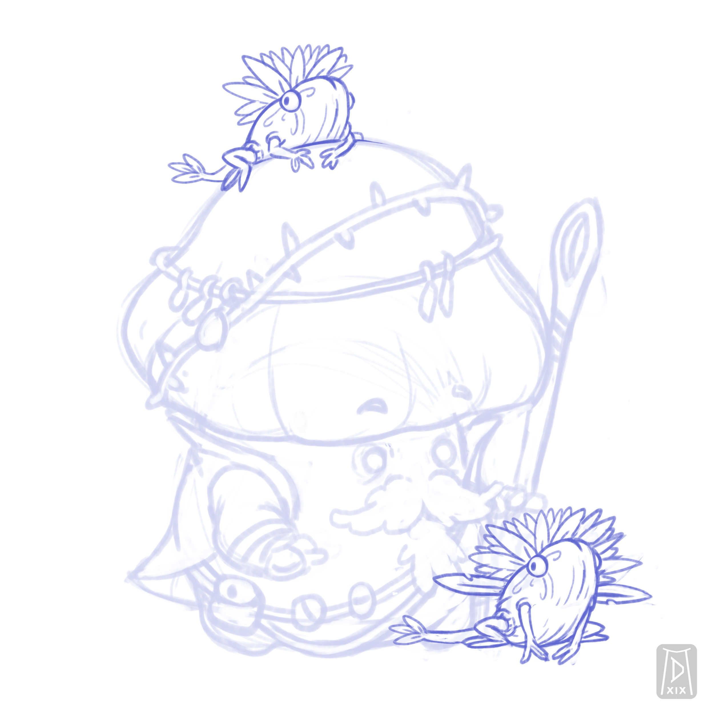 I also made some sketches for the familiars, some seed-frog creatures
