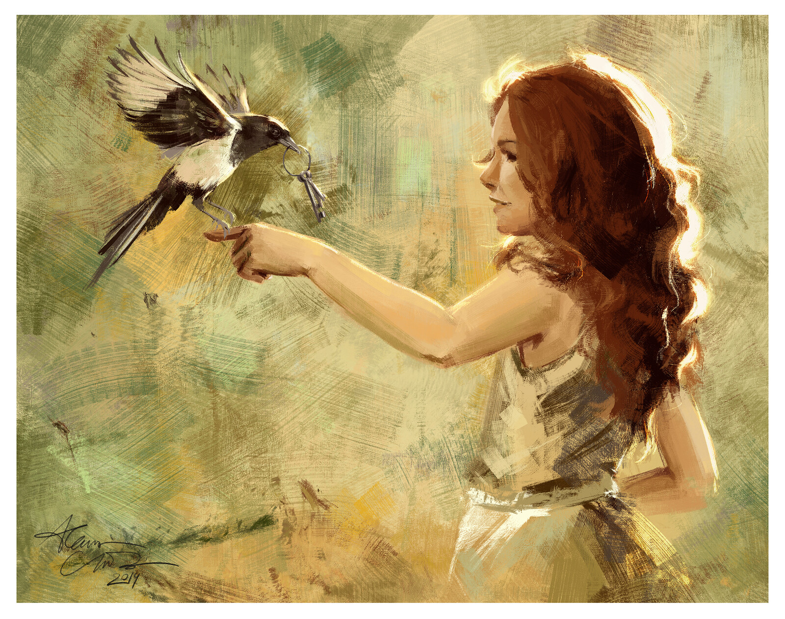The little girl and the magpie