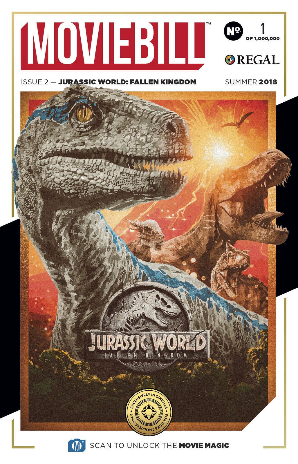 Official Jurassic World Fallen Kindom MovieBill cover for Regal Cinemas