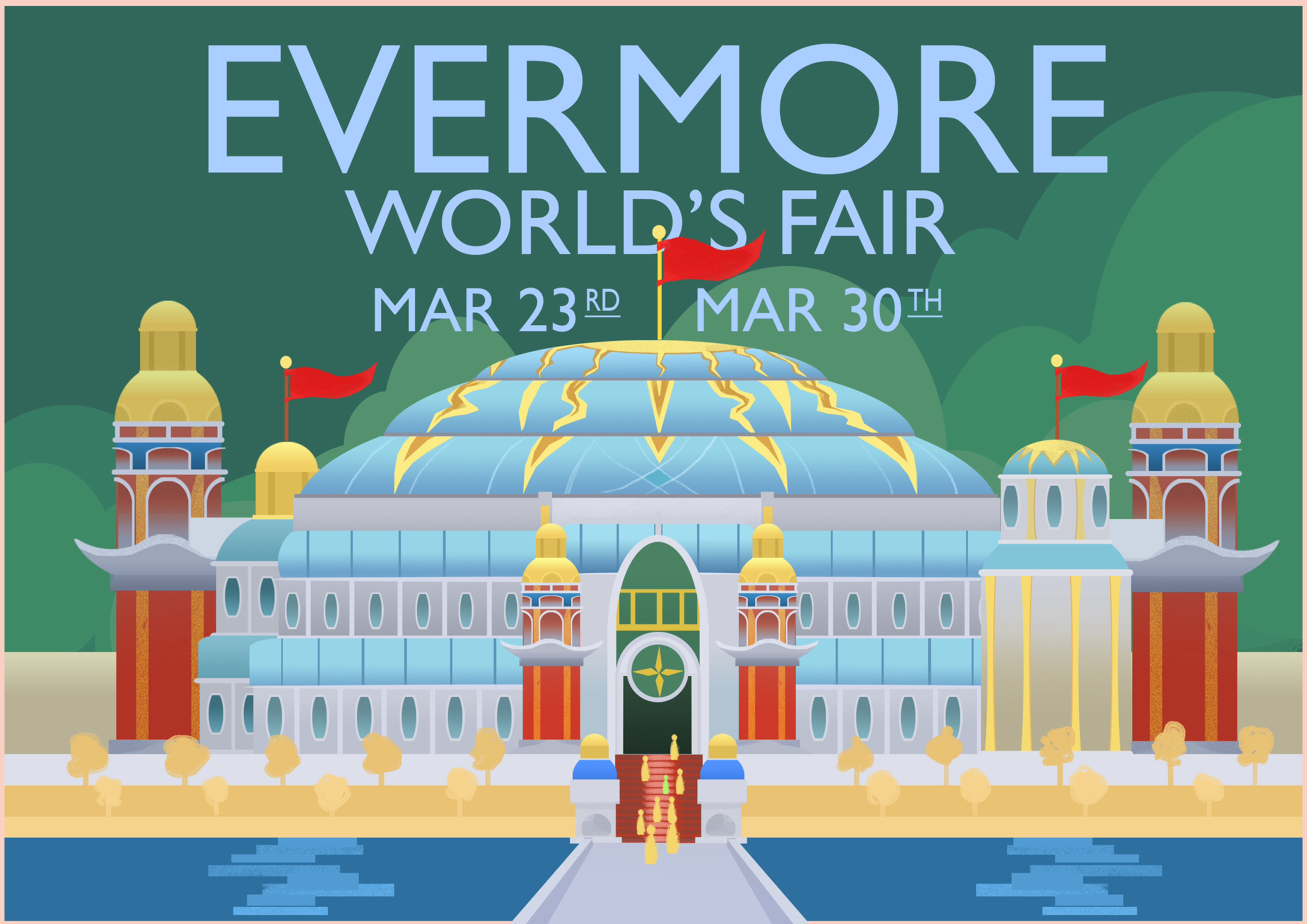 Evermore World's Fair based on Weimar Prusell's 1933 Chicago World Fair: A Century of Progress poster.