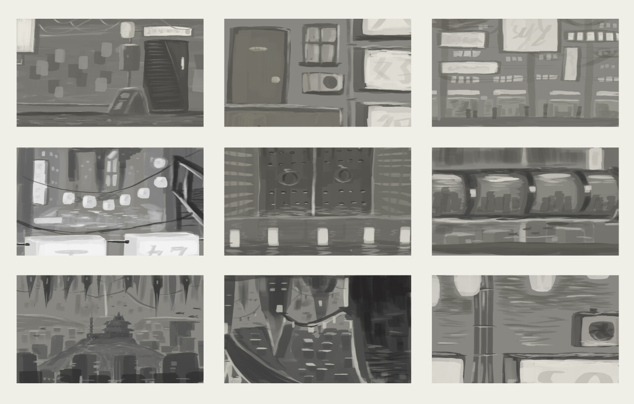 Greyscale game stage mockups.