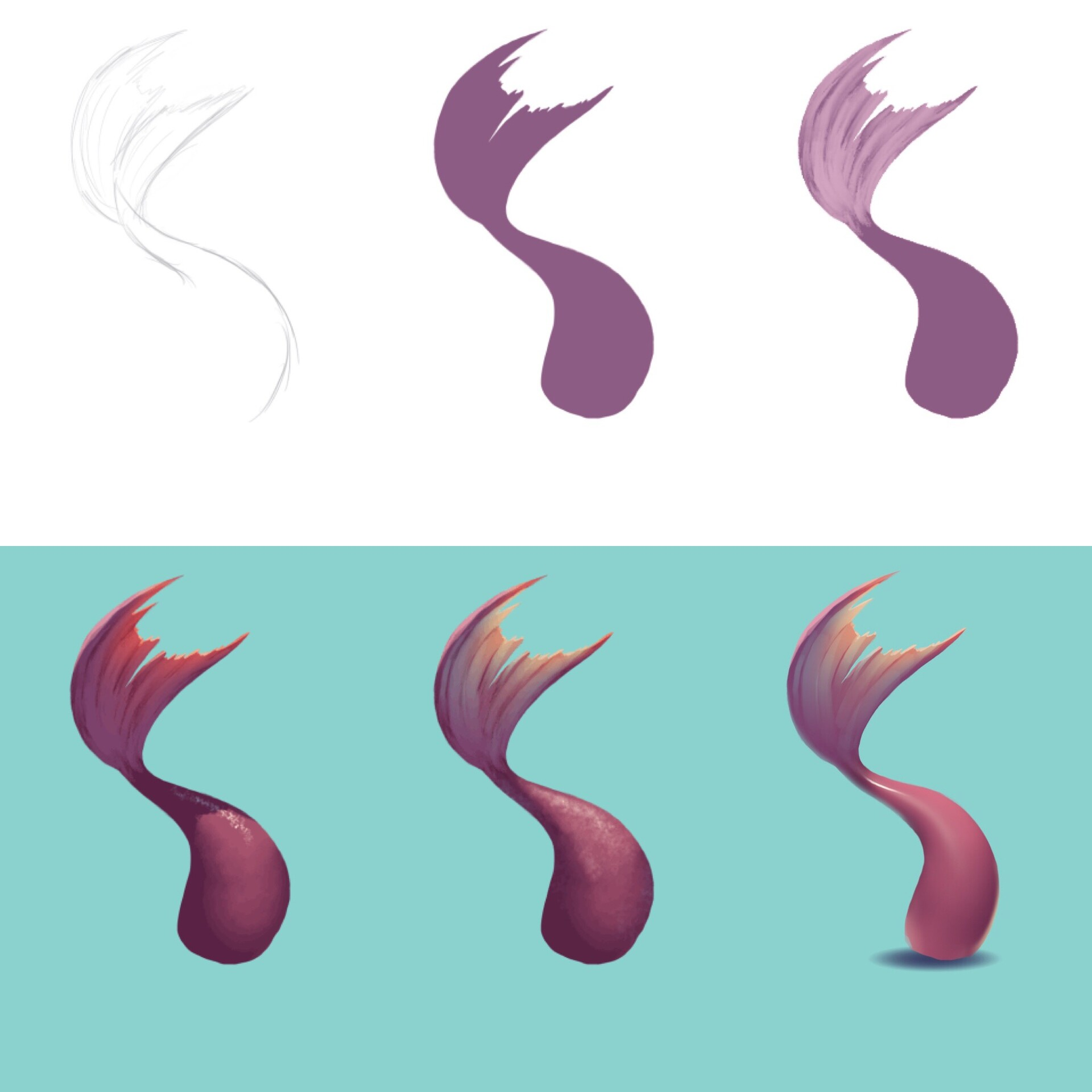Tail rendering process. Simple brush strokes do the trick.