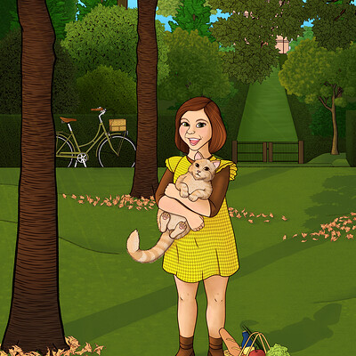 Dimitri cosmos girl with a cat compressed