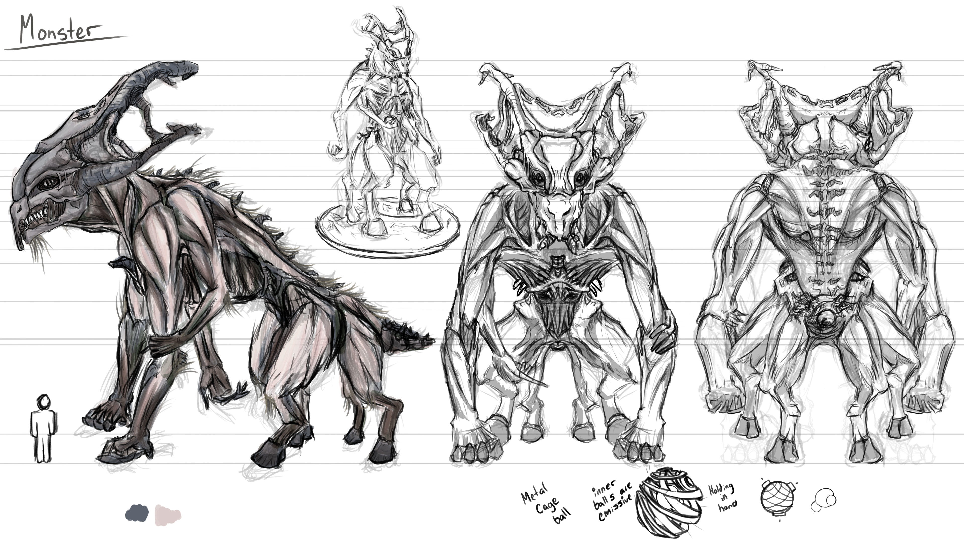 Original concept art drawn by me.  It was designed to be a creature that lives in a cave and who eats people who enter it.