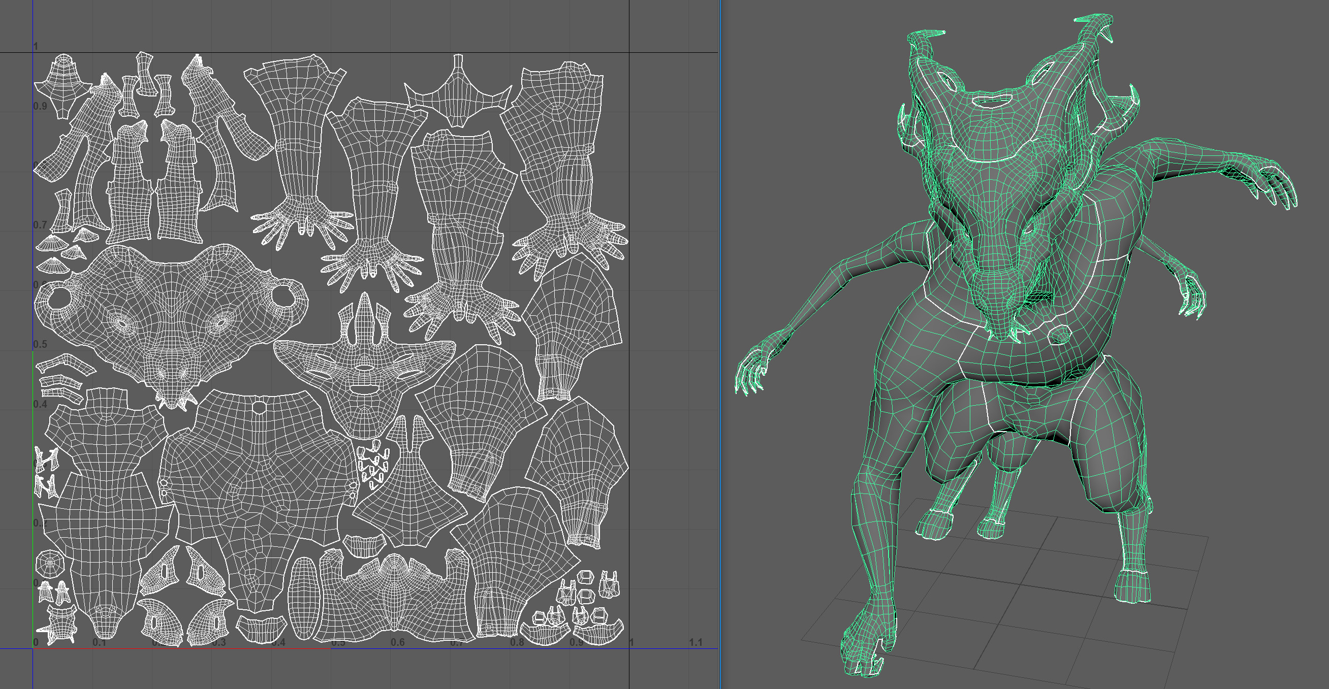 Character was retopologized in a standing position to allow for rigging if I would ever want this character rigged.  I then posed him in ZBrush afterwards.