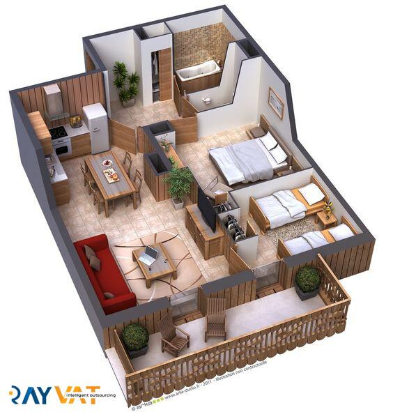 Praveen Bharadvaj 2 Bedroom Apartment Floor Plan 3d