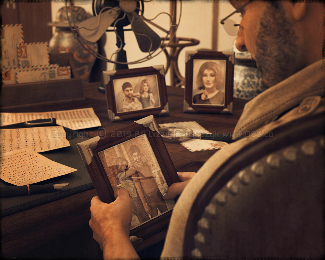 Robert Bly sits in his office while looking back to the past via his collection of cherished photographs. From the Shelby Bly Project; an original adventure story graphic novel project.
