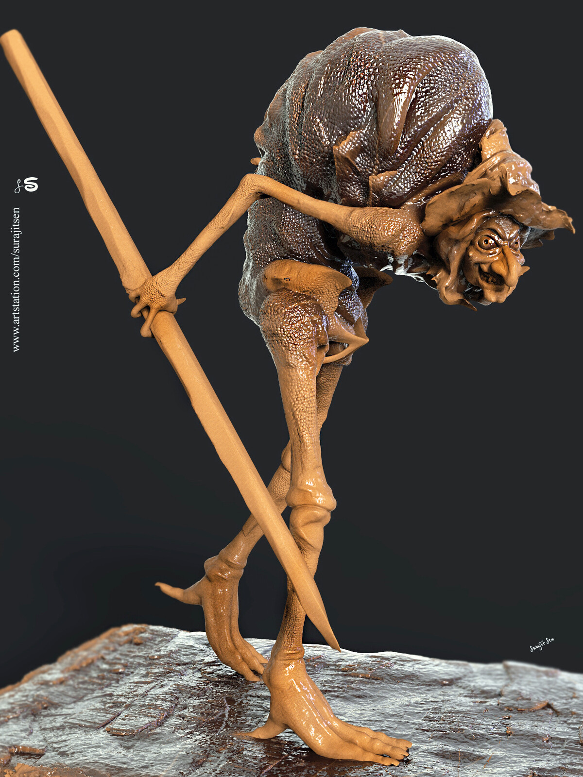 """One of my concept Digital sculptures. .... """"Hunchback_Witch""""!  My thoughts ....tried to make a form of character!"""