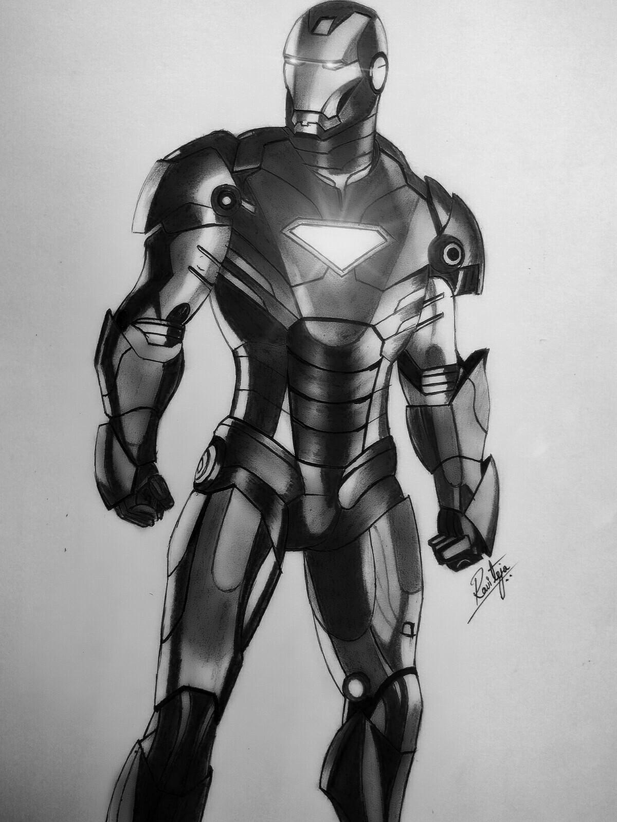 Artstation iron man pencil drawing ravi teja