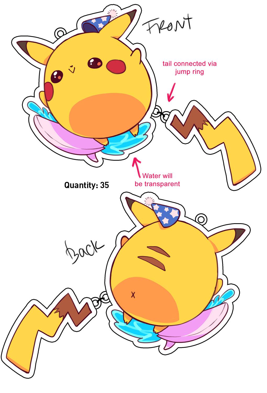 Chunky pikachu 2 part keychain