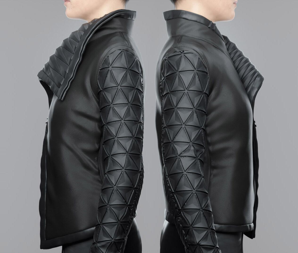 Cyberpunk Female Jacket. Back To Back. Geosphere pattern sleeves for that true Cyberpunk Aesthetic.