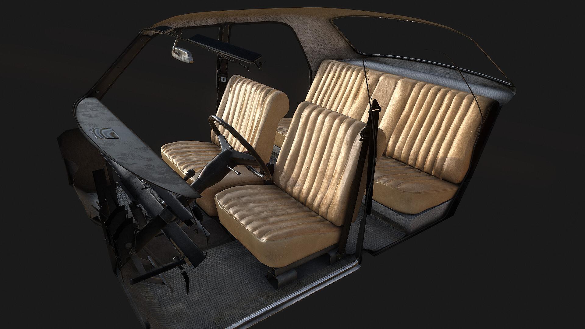 Dayz Volga car interior texturing 3