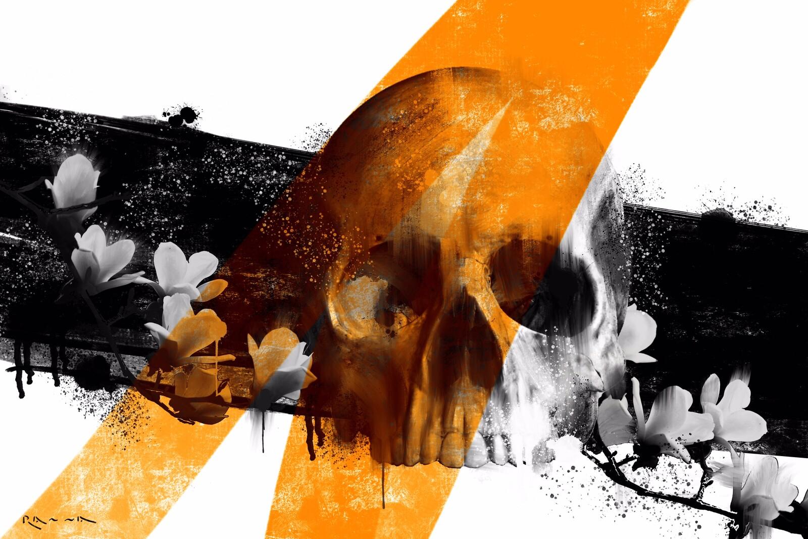 Schädel und Blumen 01