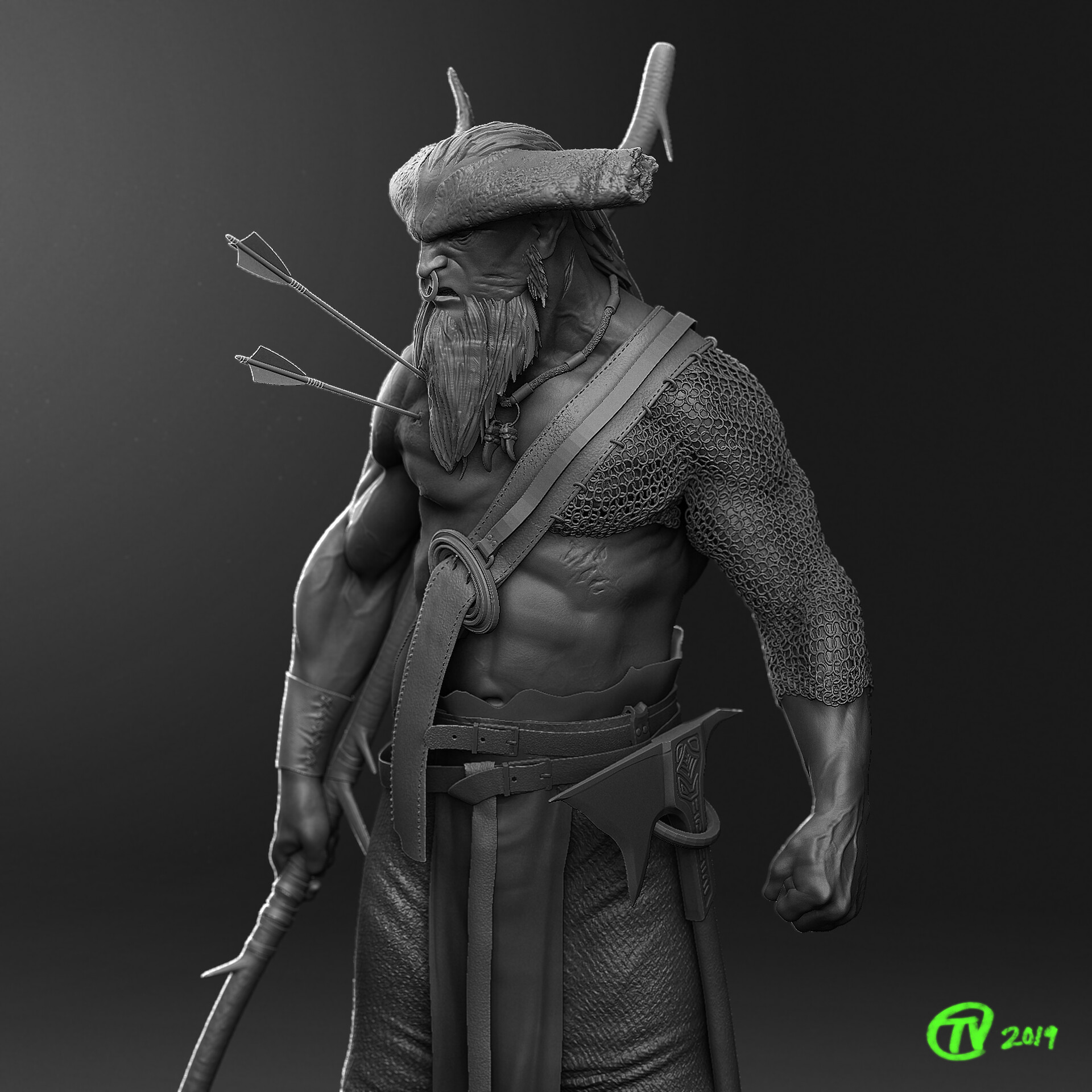 First Round sculpt and render