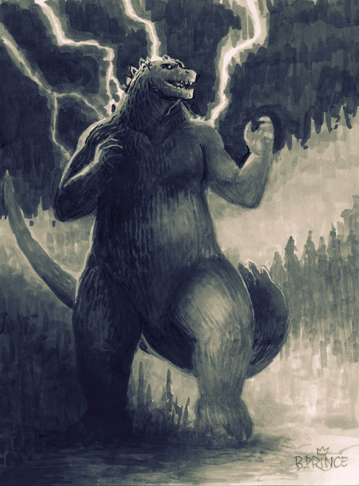 Small Godzilla Marker Sketch