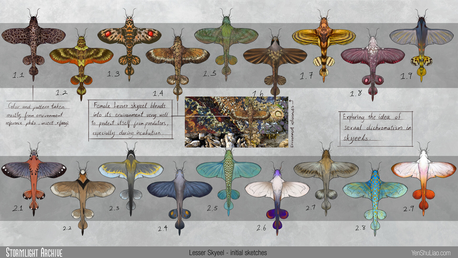 Yen shu liao stormlightarchive skyeel lesser creature concept colors yen shu liao