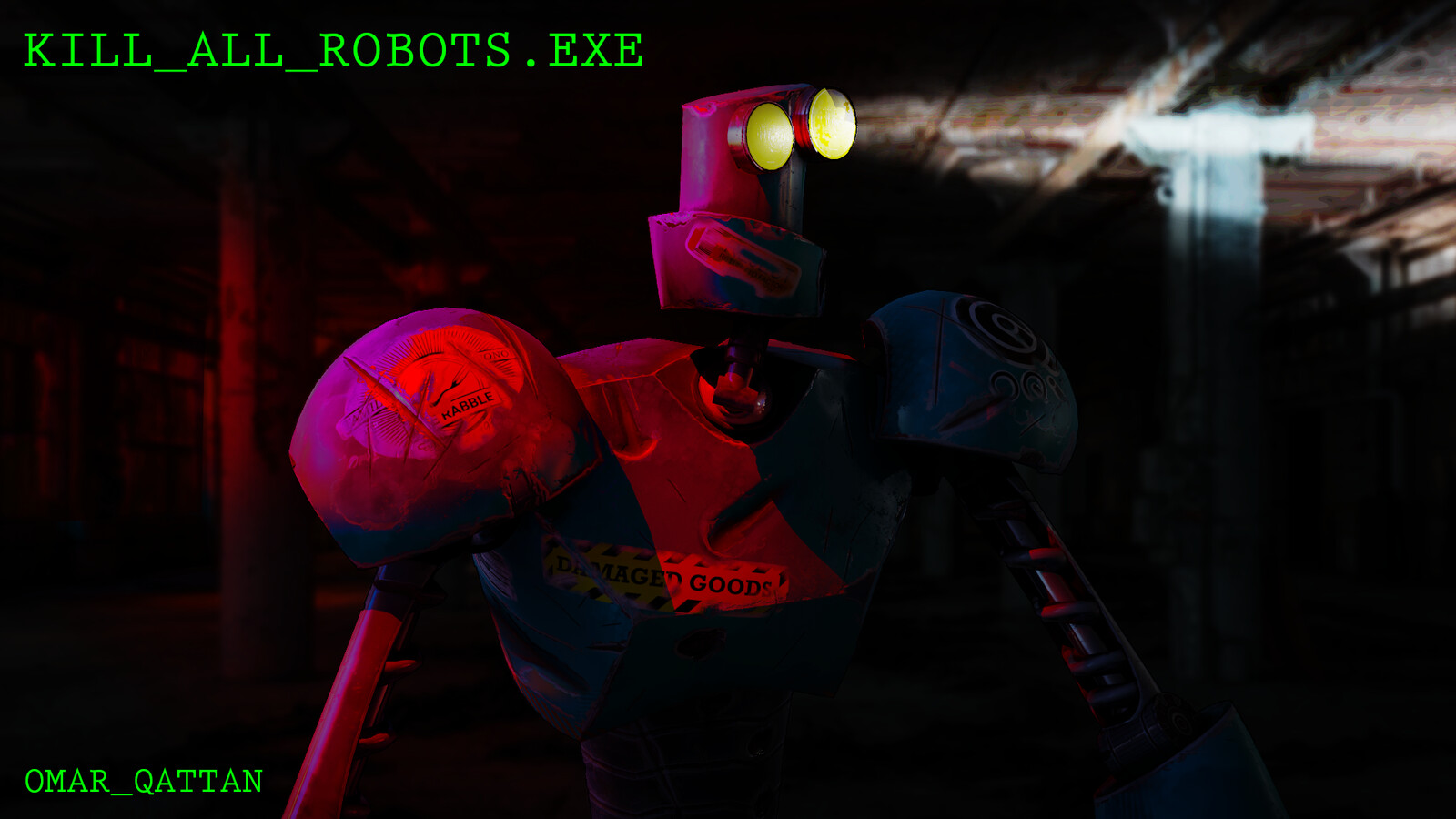 Kill_All_Robots.exe main character render w/photoshop background
