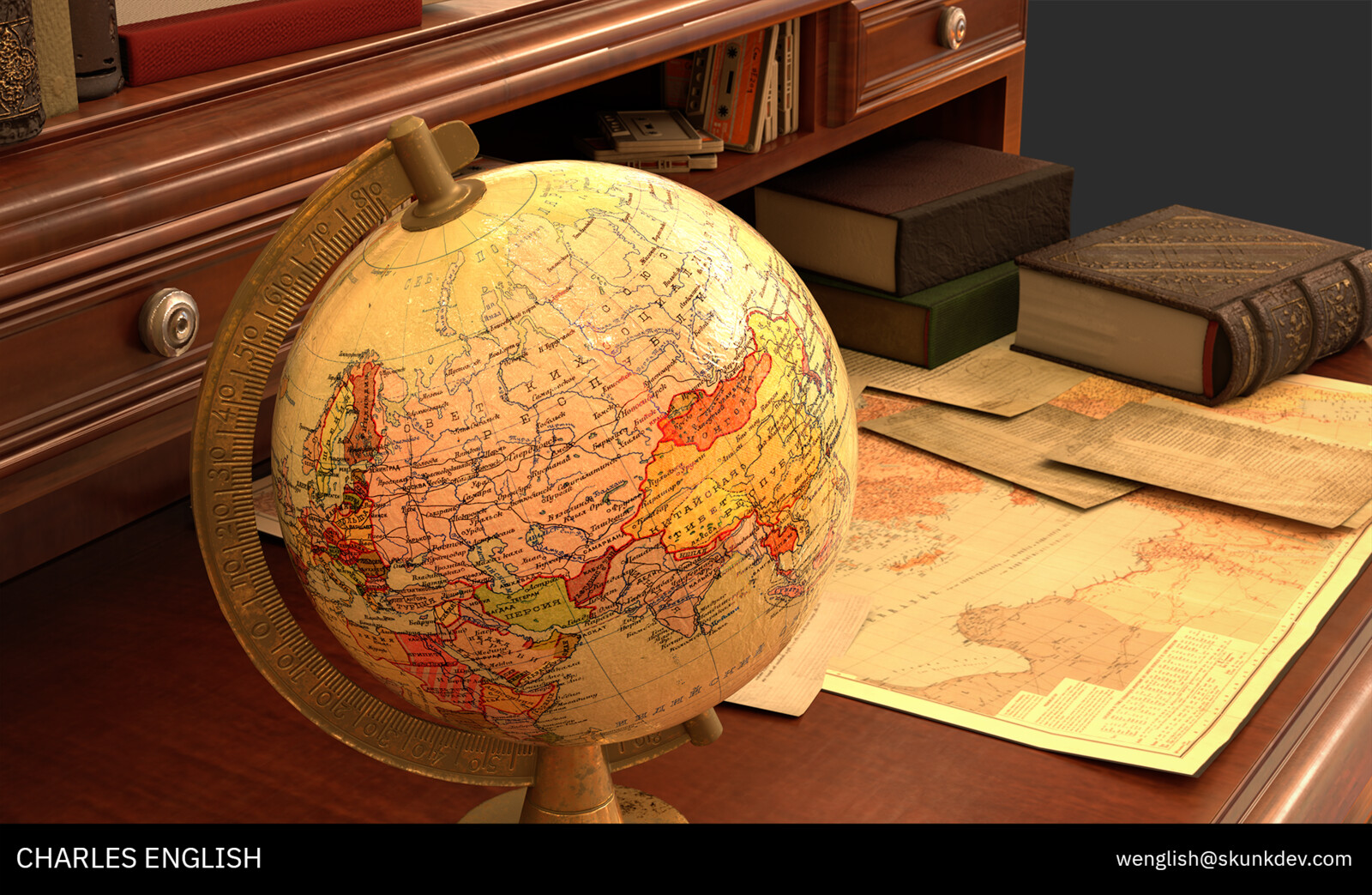 Sylvius Reko's Desk with paperwork and Soviet era globe