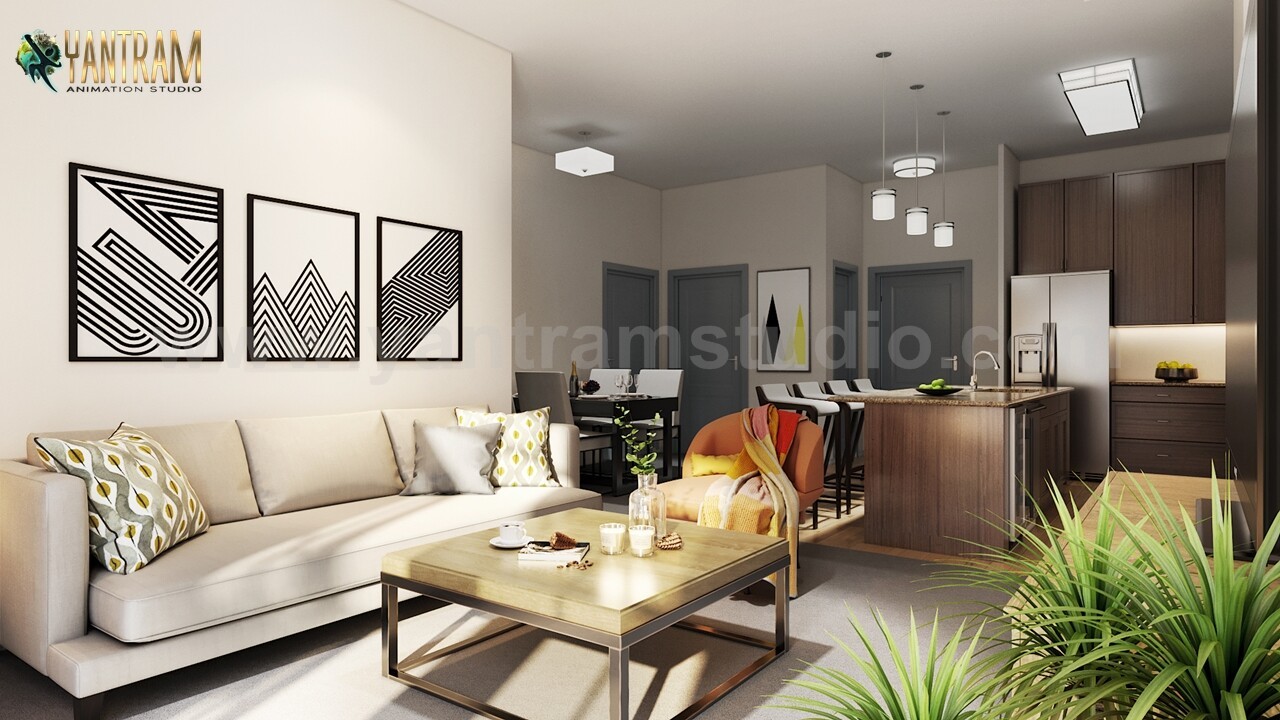 ArtStation   Modern Kitchen Living Room Combo & Decorative ...