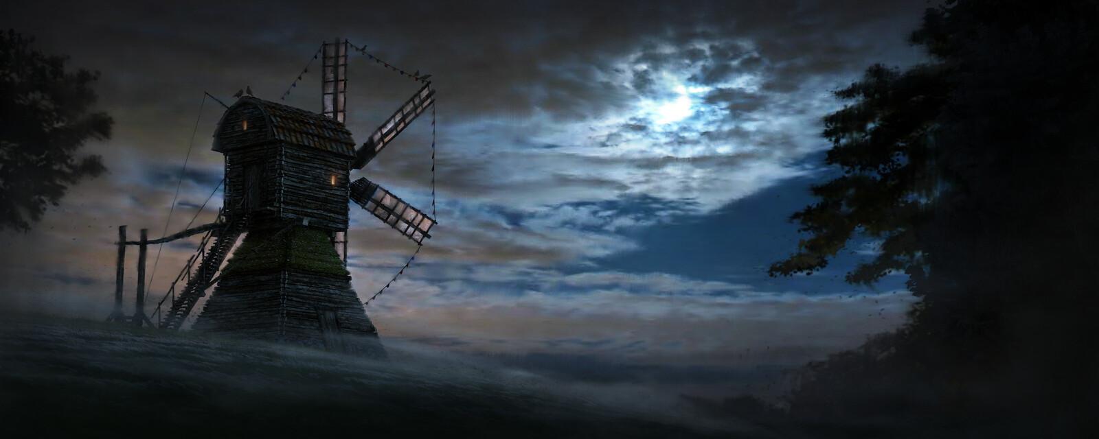 Windmill In Moon Light