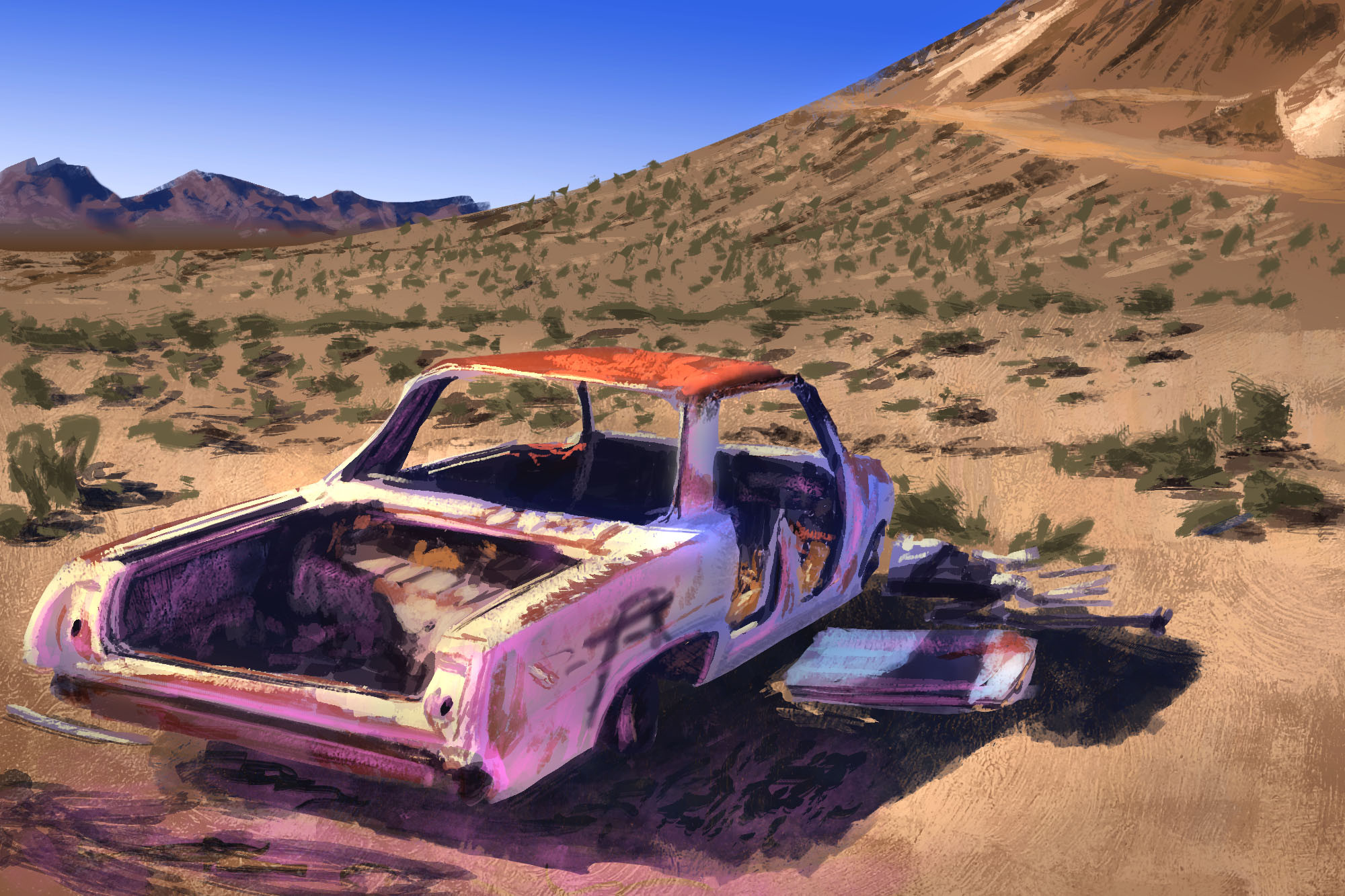 Abstraction Study: Desert Car Wreck plus Extra