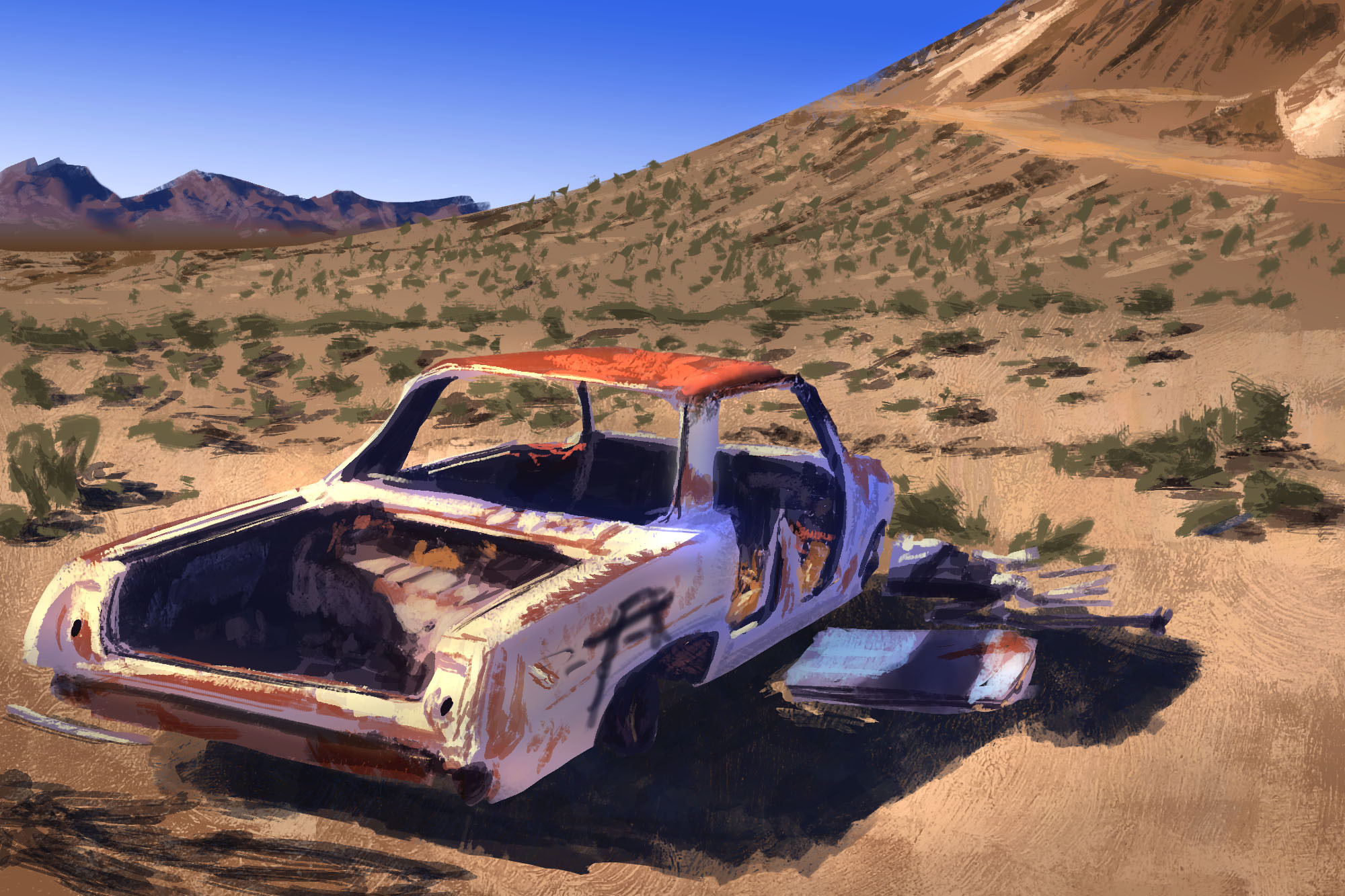 Abstraction Study: Desert Car Wreck