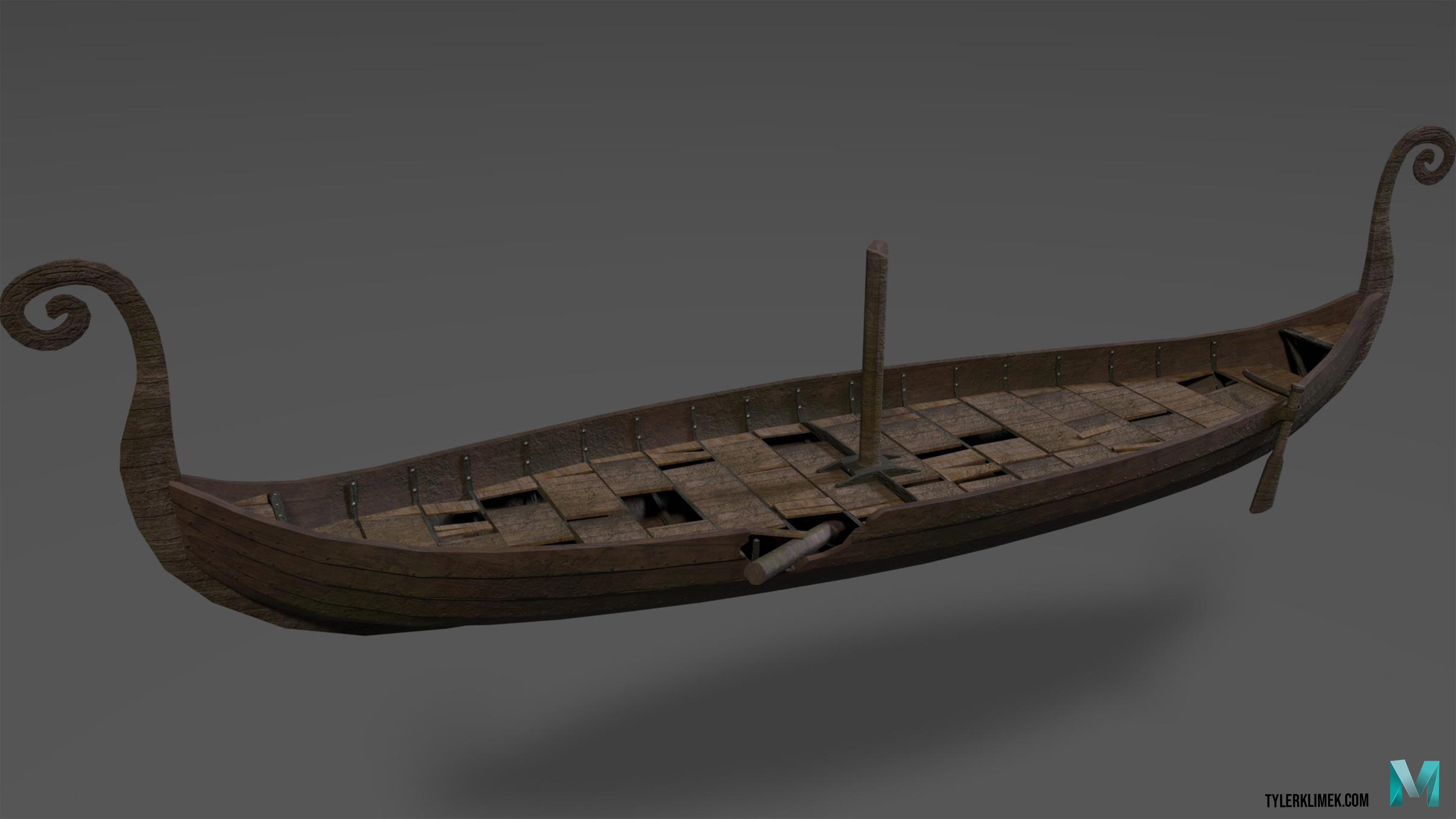"Here is the first asset I made for the project, a sunken Viking Long-ship. I had to detail it with grime and destruction in order to make it realistically be viable as a ""Sunken ship"""