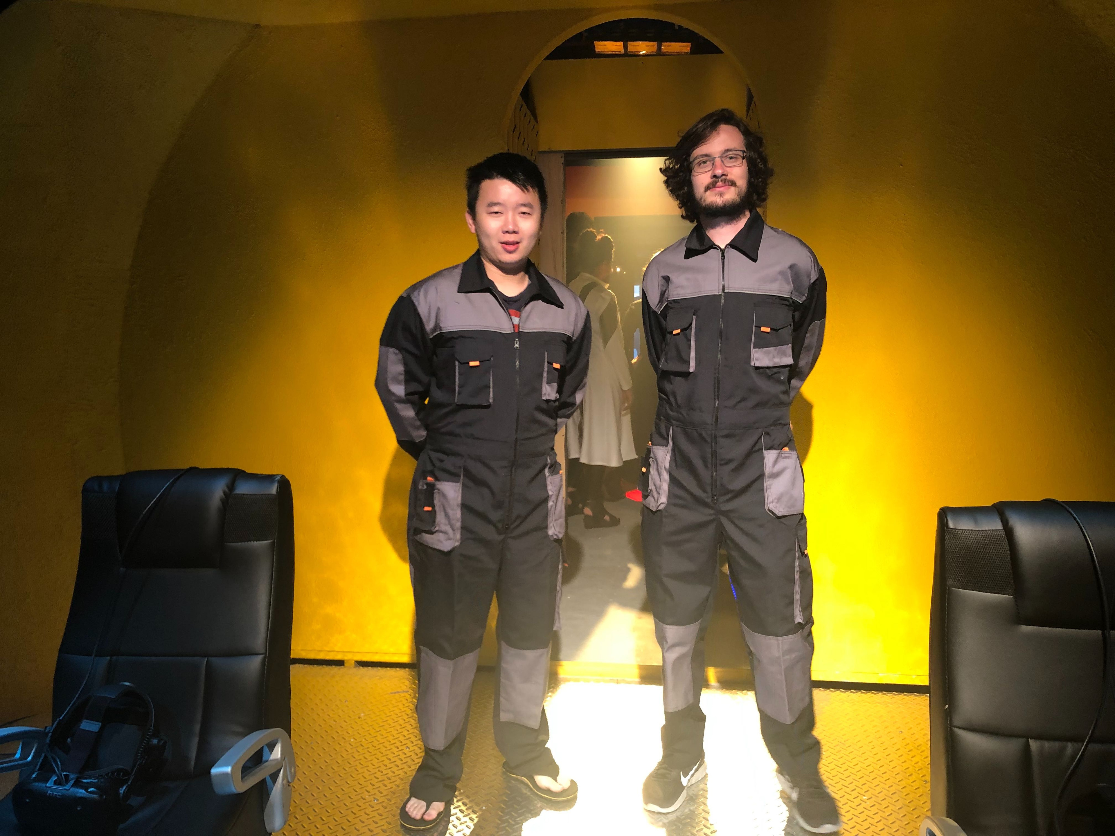 "Two members of our team standing in as ""Captains"" for the VR experience"