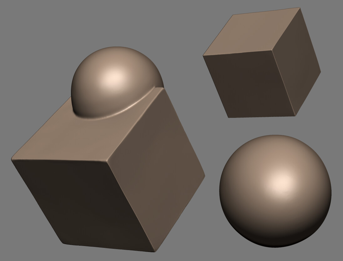 Using only the move brush, trim dynamic, and smooth - create a sphere from a cube, a cube from a sphere, and a sphere with a cube pulled out of it.
