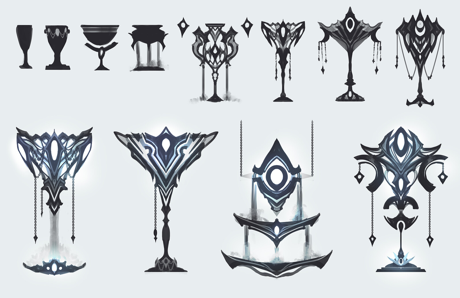 Sketch sheet for the Holy Grail. Was pretty happy with my first themed sketch of the chalice, so I knew which direction I was going to take it in very early on. I liked the idea of a floating chalice and a sieve so I explored those ideas too.
